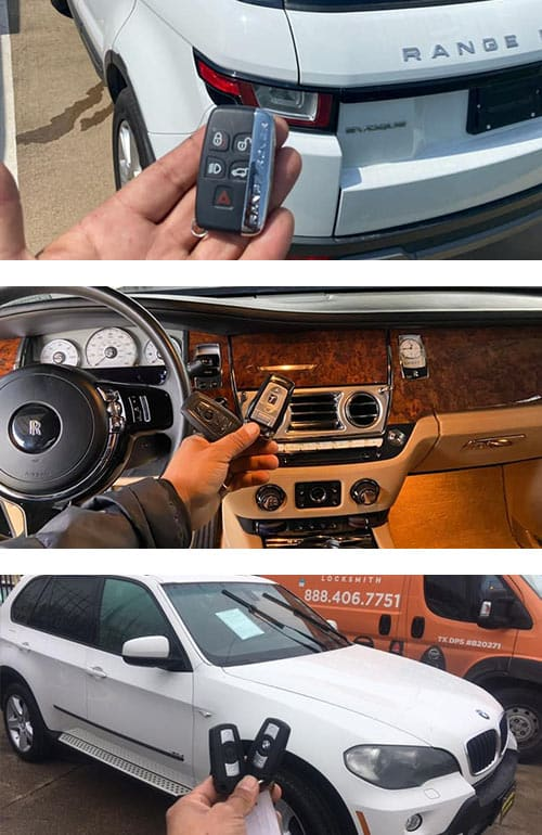 A variety of automobiles and the key remotes we duplicated: Range Rover (top), Rolls-Royce (middle), and a BMW SUV (bottom).