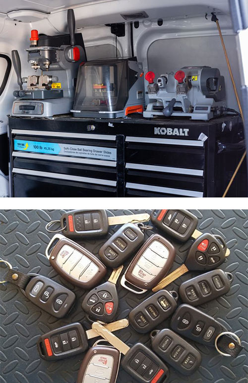 image of key cutters on one of our locksmith vans (top) and a selection of key fobs and remotes that we can program for you (bottom)