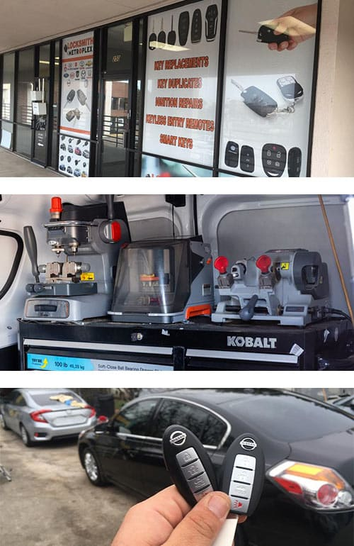 image of our Arlington, TX storefront (top), 3 different types of key cutters in one of our locksmith vans (middle), and a pair of Nissan fobs we programmed on-site in one of our vans (bottom).